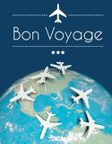 Bon Voyage concept, airplanes on earth Royalty Free Stock Images