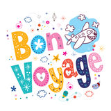 Bon Voyage. Decorative type lettering design with cute plane character Stock Photos