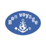 Bon voyage fancy letters. Travel icon have nice trip - Bon Voyage in French. Freehand fancy cartoon style letters. Steering wheel anchor symbol. Vintage headline stock illustration