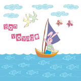 Bon voyage greeting. Decorative background with illustration of bunny sailor stock illustration