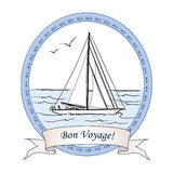 Bon Voyage greeting vintage card. Cruise label with Ship Stock Photography