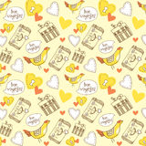 Bon voyage! Hand drawn patterns with symbol of Stock Photography