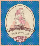 Bon voyage! Illustration of sailing ship in retro style Royalty Free Stock Photography