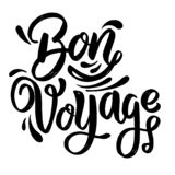 Bon Voyage. lettering phrase on white background. Design element for poster, card, banner. Vector illustration stock illustration