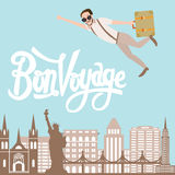 Bon voyage man traveling flying bring luggage with city landscape in the background Royalty Free Stock Photos