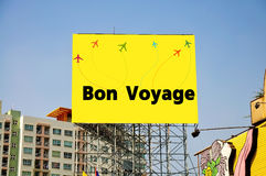 Bon Voyage Message on Billboard. Stock Image