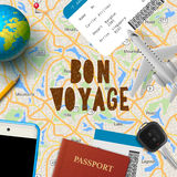 Bon voyage, planning vacation trip with map. Smart phone, airplane, passport, tickets, globe, vector illustration Royalty Free Stock Images
