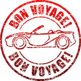 Bon voyage red grunge style rubber stamp with car, cabriolet. Stock Photo