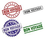 Grunge Textured BON VOYAGE Seal Stamps. BON VOYAGE seal prints with damaged surface. Black, green,red,blue vector rubber prints of BON VOYAGE label with dust stock illustration