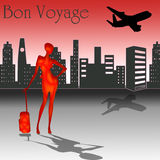 Bon Voyage with skyline. Bon Voyage text with a woman and city in the background and an airplane in the sky Stock Photo