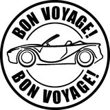 Bon voyage solid style black  rubber stamp with car, cabriolet. Royalty Free Stock Photo