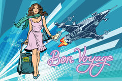 Bon voyage space travel, space tourism. Pretty girl passenger with Luggage. Pop art retro vector illustration royalty free illustration