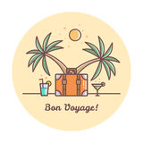 Bon Voyage. Suitcase and palm trees. Vector illustration. Bon Voyage. Suitcase and drinks. Vector illustration Royalty Free Stock Photos