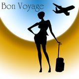 Bon Voyage. Text with a woman and an airplane in the sky Stock Photos