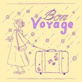 Bon Voyage. Vector coloring page with woman traveler, suitcase, dachshund and wishing a happy journey Stock Photography