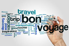 Bon voyage word cloud concept on grey background.  Royalty Free Stock Images