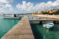 Bonaire. Coastline on west coast of Bonaire with view on harbor and Kralendijk the capital city of Bonaire royalty free stock photography