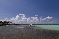 Bonaire island Caribbean sea windsurf lagoon Sorobon. Bonaire island windsurf lagoon Sorobon stock photo
