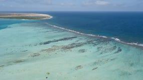 Bonaire island Caribbean sea windsurf lagoon Sorobon. Aerial drone top view royalty free stock photo