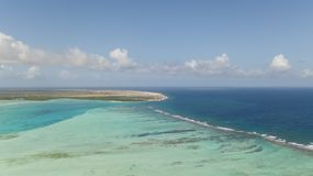Bonaire island Caribbean sea windsurf lagoon Sorobon. Aerial drone top view Royalty Free Stock Photography