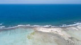 Bonaire island Caribbean sea windsurf lagoon Sorobon. Aerial drone top view stock image