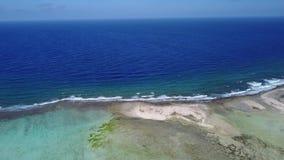 Bonaire island Caribbean sea windsurf lagoon Sorobon aerial drone top view 4K UHD video stock video