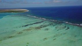 Bonaire island Caribbean sea windsurf lagoon Sorobon aerial drone top view 4K UHD video stock footage