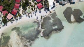 Bonaire island Caribbean sea windsurf lagoon Sorobon. Aerial drone top view stock photos