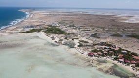 Bonaire island Caribbean sea windsurf lagoon Sorobon. Aerial drone top view royalty free stock photos