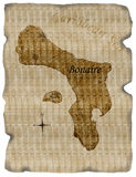 Bonaire map on burnt parchment Royalty Free Stock Images