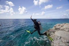 bonaire nurka akwalungu kobieta Zdjęcia Royalty Free