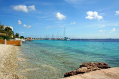 Bonaire Ocean View. Beautiful ocean view from a back yard of a house in Bonaire, Dutch Caribbean Stock Photos
