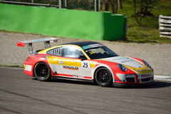 Bonaldi Motorsport Porsche 911 GT3 Cup at Monza. This Porsche 911 is driven at Monza by Tommy Maino in occasion of a Test day organized by Kateyama. Team Bonaldi Royalty Free Stock Photos