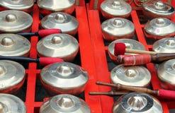 Bonang - traditional musical instrument of Javanese gamelan. Closeup Royalty Free Stock Photo