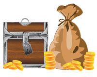 Bonanza with coin. Coffer and bag with gold coin on white background is insulated Stock Images