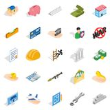 Bonanza icons set, isometric style. Bonanza icons set. Isometric set of 25 bonanza vector icons for web isolated on white background Stock Photography