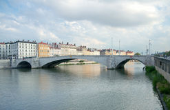 Bonaparte bridge, Saone river, Lyon, France Stock Photos