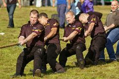 Bonar Bridge, Scotland - September 20th, 2014 - Tug-of-war team competing in the Highland Games stock images