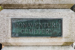 Bonaventure Cemetery Sign Στοκ Φωτογραφίες