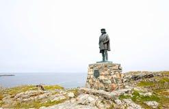 Bonavista,纽芬兰 加拿大 乔瓦尼・卡博托雕象  意大利导航员和探险家 库存照片