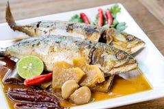 Bonbon à maquereau et sel bouillis, nourriture thaïlandaise Photos stock