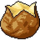 Bonbon à pomme de terre d'art de pixel de vecteur Photographie stock