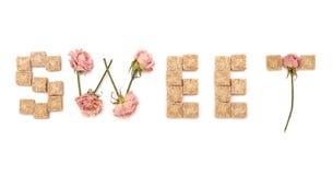 Bonbon aux textes de rose et de sucre. Série : bonbon, amour Image stock
