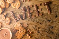 Bonbon, chocolat, biscuits, décoration, vue supérieure Images stock