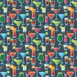 Bonbon cosmopolite tropical à alcool de partie de fraîcheur de cocktails de modèle de fond de boissons froides sans couture alcoo illustration libre de droits