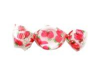 Bonbon farbige Erdbeersüßigkeit lokalisiert Über Weiß Stockfoto