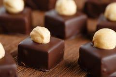 Bonbon fatti a mano del cioccolato con la nocciola immagini stock libere da diritti