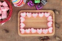 Bonbon rose à guimauve de coeur pour le jour de valentine Image stock