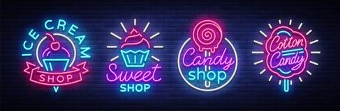 Bonbon-Shop ist Sammlungslogos der Neonart Eisdiele, Zuckerwatte Süßigkeitsshop-Sammlungsleuchtreklamen, Licht lizenzfreie abbildung