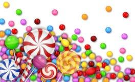 Bonbon von Süßigkeiten mit Lutscher auf weißem Hintergrund Lizenzfreie Stockfotos